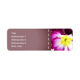 Fleurs colorées épousant des étiquettes de adresse