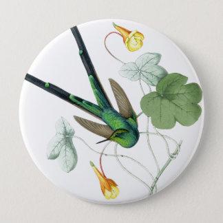 Fleurs d'animaux de faune d'oiseaux de colibris badge rond 10 cm