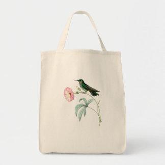 Fleurs d'animaux de faune d'oiseaux de colibris sac en toile épicerie