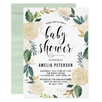 Fleurs d'aquarelle avec des baby showers de carton d'invitation  12,7 cm x 17,78 cm