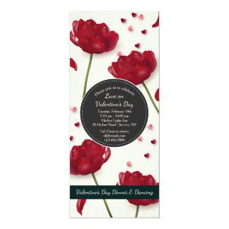 Fleurs d'arrière - plan de crème d'invitation carton d'invitation  10,16 cm x 23,49 cm