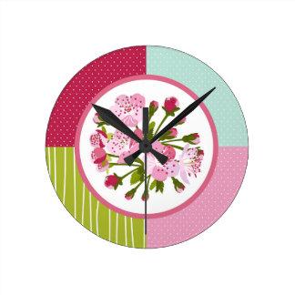 Fleurs de cerisier horloge ronde