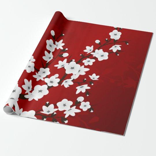 Fleurs de cerisier noires et blanches rouges papier cadeau noël