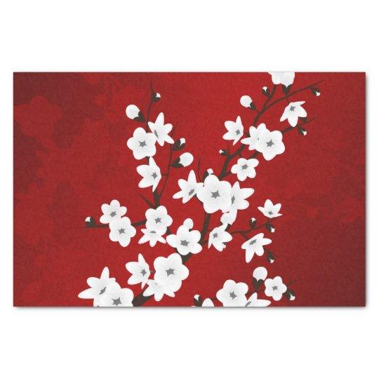 Fleurs de cerisier noires et blanches rouges papier mousseline