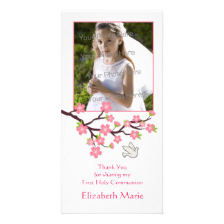 Fleurs de cerisier roses, colombe, carte photo rel photocarte