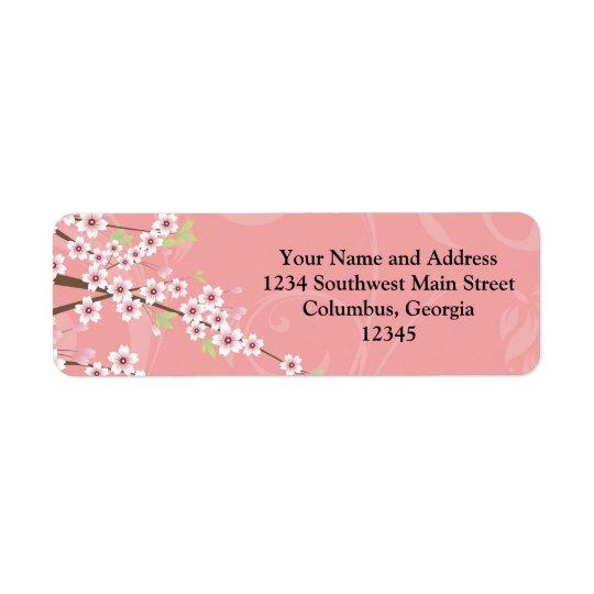Fleurs de cerisier roses molles étiquettes d'adresse retour