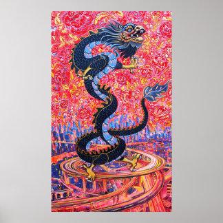Fleurs de dragon au-dessus de l'affiche de ville