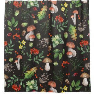 Fleurs de feuille de champignons de forêt rideaux de douche