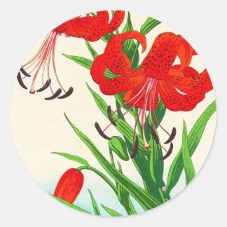 Fleurs de hanga de tibia de lis tigrés de sticker rond