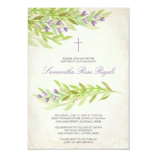 Fleurs de lavande d'invitation de baptême de carton d'invitation  12,7 cm x 17,78 cm