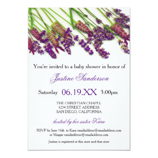 Fleurs de lavande - invitation de baby shower