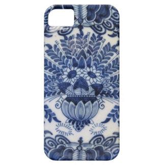 Fleurs de paon néerlandaises bleues et blanches de coques iPhone 5 Case-Mate