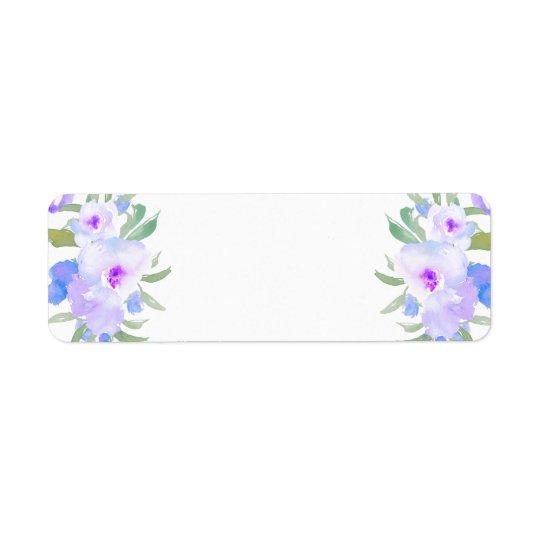 fleurs de pourpre d'aquarelle étiquette d'adresse retour