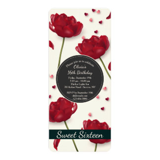 Fleurs d'invitation d'amour carton d'invitation  10,16 cm x 23,49 cm