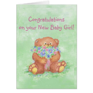 Fleurs d'ours de FunTeddy de bébé de félicitations Carte De Vœux