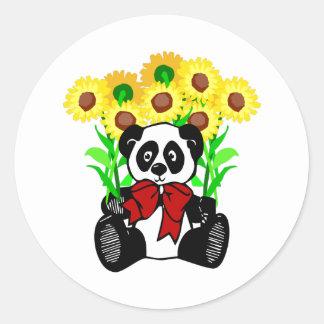 Fleurs d'ours panda sticker rond
