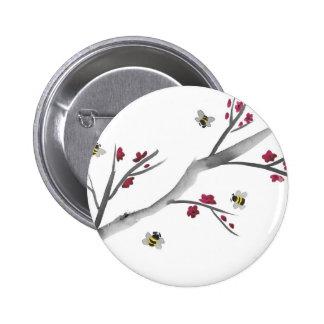 Fleurs et abeilles badge rond 5 cm
