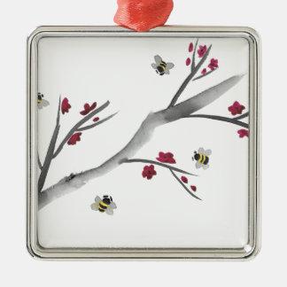 Fleurs et abeilles ornement carré argenté