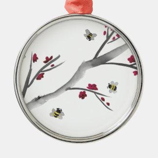 Fleurs et abeilles ornement rond argenté