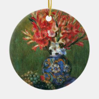 Fleurs et fruit toujours de la vie par Pierre Ornement Rond En Céramique