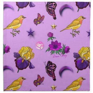 Fleurs et papillons - oiseaux et étoiles serviettes de table