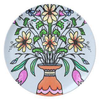Fleurs et vase reflétés assiettes en mélamine