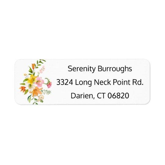 Fleurs florales de lis - roses, mariage orange et étiquette d'adresse retour