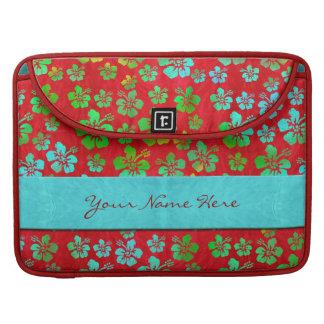 Fleurs multicolores de ketmie sur le rouge housse pour macbook