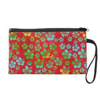 Fleurs multicolores de ketmie sur le rouge pochette avec dragonne