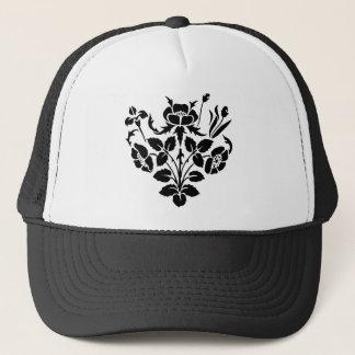 Fleurs noires et blanches casquette