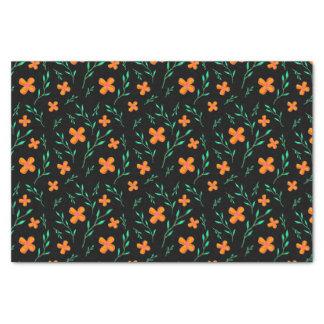 Fleurs oranges et brins verts papier mousseline