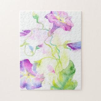 Fleurs peintes de convolvule d'aquarelle puzzle