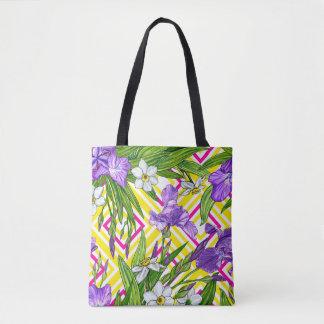 Fleurs pourpres d'iris et de narcisse - sac