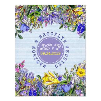 Fleurs pourpres vintages de fleurs sauvages de carton d'invitation 10,79 cm x 13,97 cm
