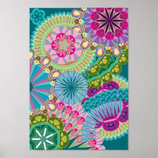 fleurs psychédéliques de plume posters