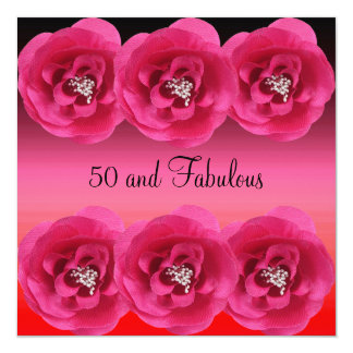 Fleurs roses 50 d'invitation et fabuleux carton d'invitation  13,33 cm