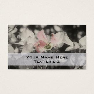 Fleurs roses de cornouiller en noir et blanc cartes de visite