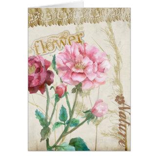 Fleurs roses de pays carte