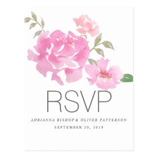 Fleurs roses de pivoines d'aquarelle épousant RSVP Carte Postale