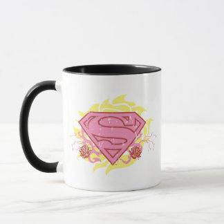 Fleurs roses de Supergirl Mug