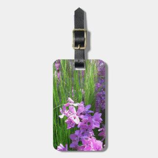 Fleurs roses d'été de Phlox et d'herbe Étiquette Pour Bagages