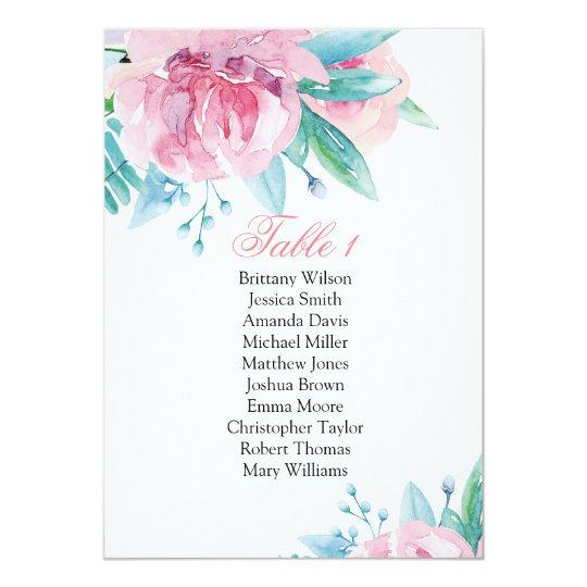 Fleurs roses épousant le diagramme d'allocation carton d'invitation  12,7 cm x 17,78 cm