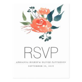Fleurs rouges d'aquarelle épousant RSVP Carte Postale