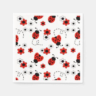 Fleurs rouges de Madame Bug Floral White Spring de Serviette Jetable