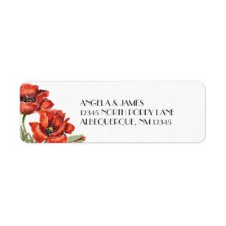 Fleurs rouges de pavot d'aquarelle étiquettes d'adresse retour
