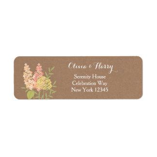 Fleurs rustiques de pays - étiquette de mariage de
