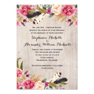 Fleurs rustiques et faire-part de mariage de