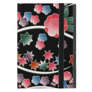 Fleurs stylisées de prune sur le motif noir de étui iPad mini