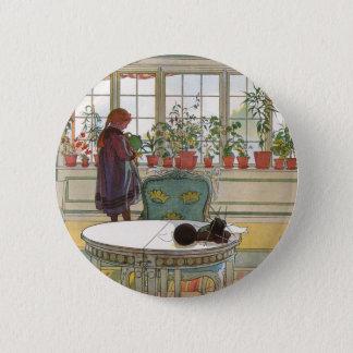 Fleurs sur le rebord de fenêtre par Carl Larsson Badge Rond 5 Cm