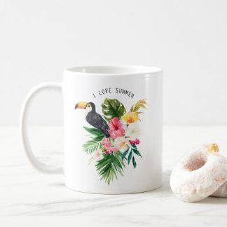 Fleurs tropicales d'aquarelle avec la coutume de mug blanc